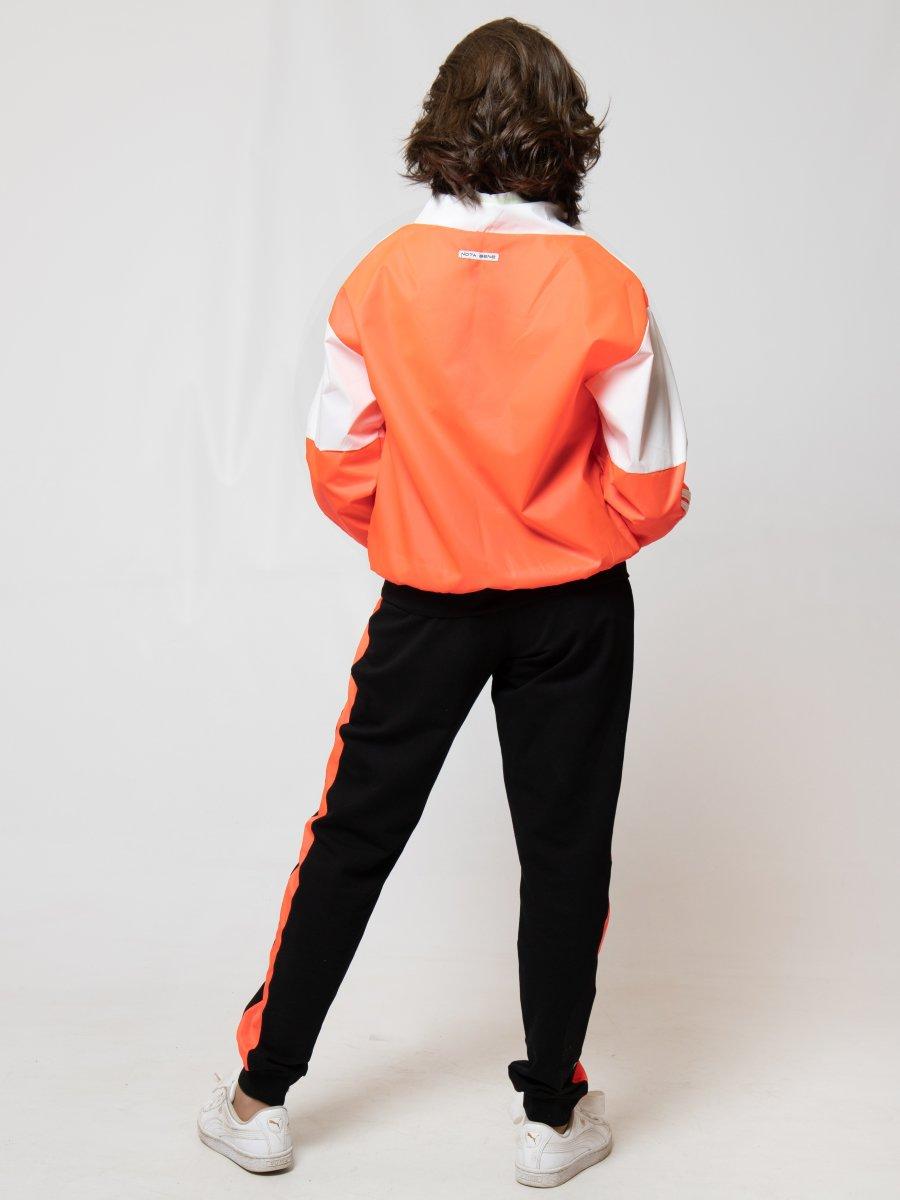 Костюм спортивный: толстовка и брюки зауженные со средней посадкой, цвет: неон оранжевый