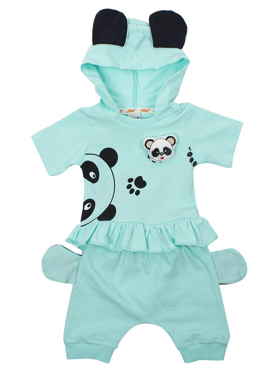 Комплект для девочки: кофточка и шорты, цвет: мятный