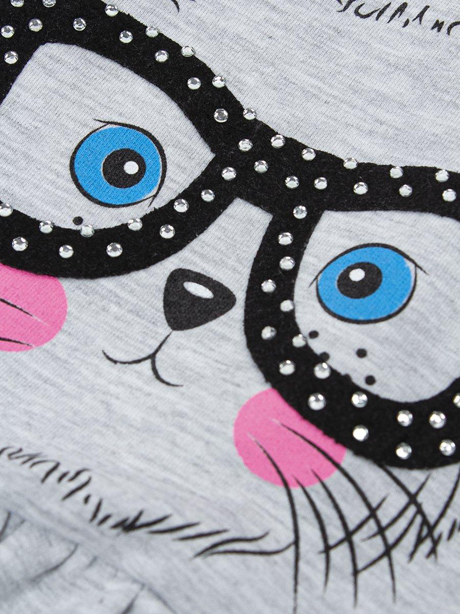 Комплект для девочки: футболка и шорты, цвет: серый меланж
