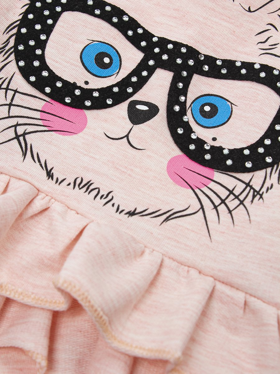 Комплект для девочки: футболка и шорты, цвет: пудра