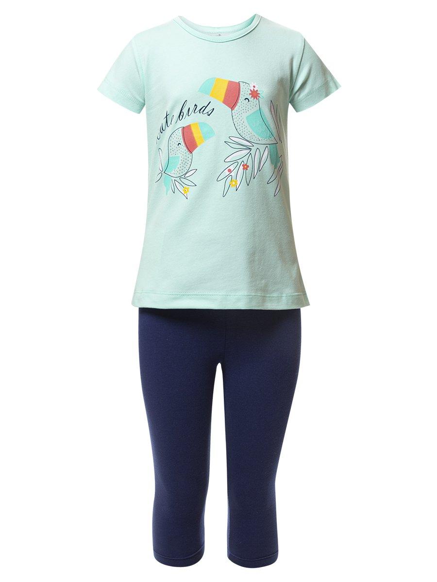 Комплект для девочки: туника и капри, цвет: мятный