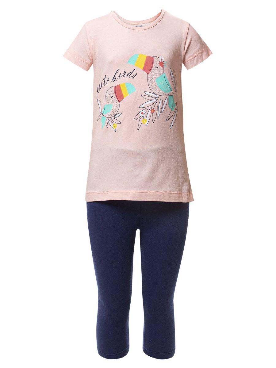 Комплект для девочки: туника и капри, цвет: пудра