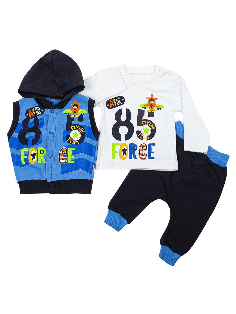 Комплект для мальчика: кофточка, штанишки и жилет, цвет: синий