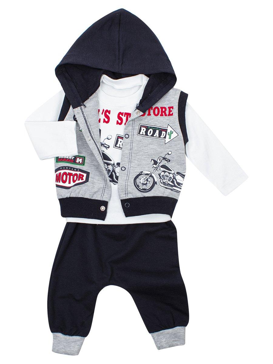 Комплект для мальчика: кофточка, штанишки и жилет, цвет: серый меланж