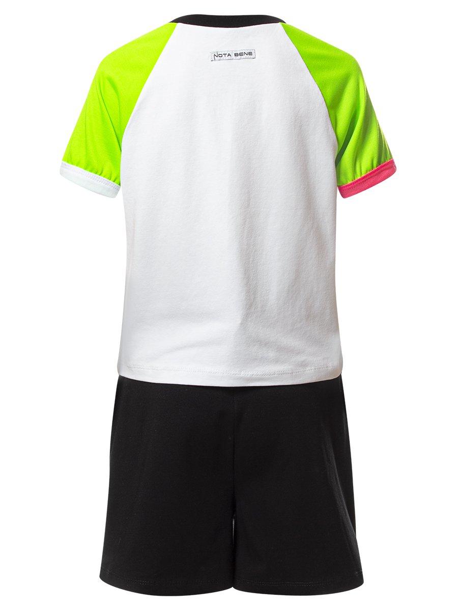 Комплект:футболка укороченная и шорты с завышенной посадкой, цвет: зеленый