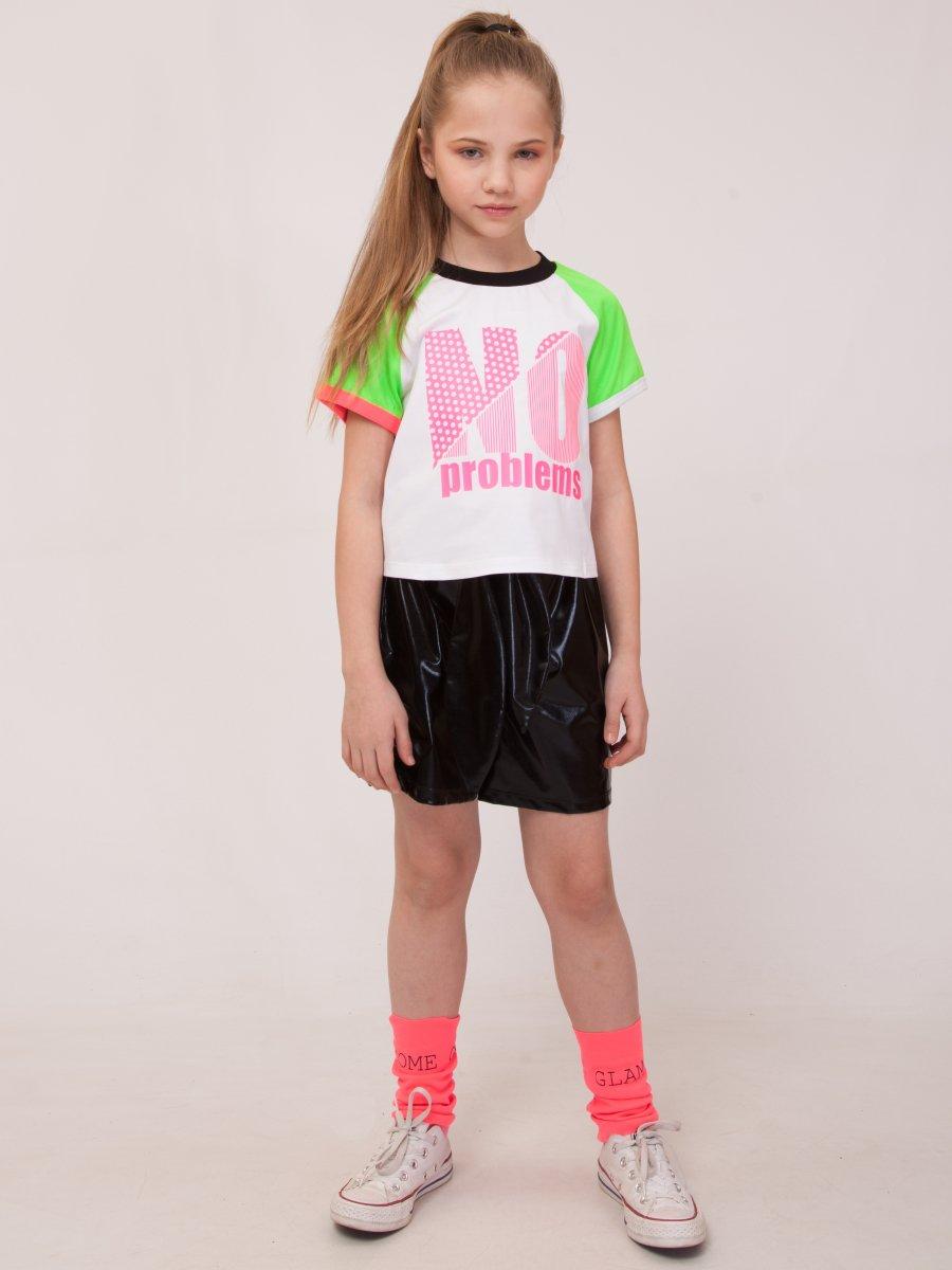Комплект: футболка укороченная и шорты с завышенной посадкой, цвет: зеленый неон