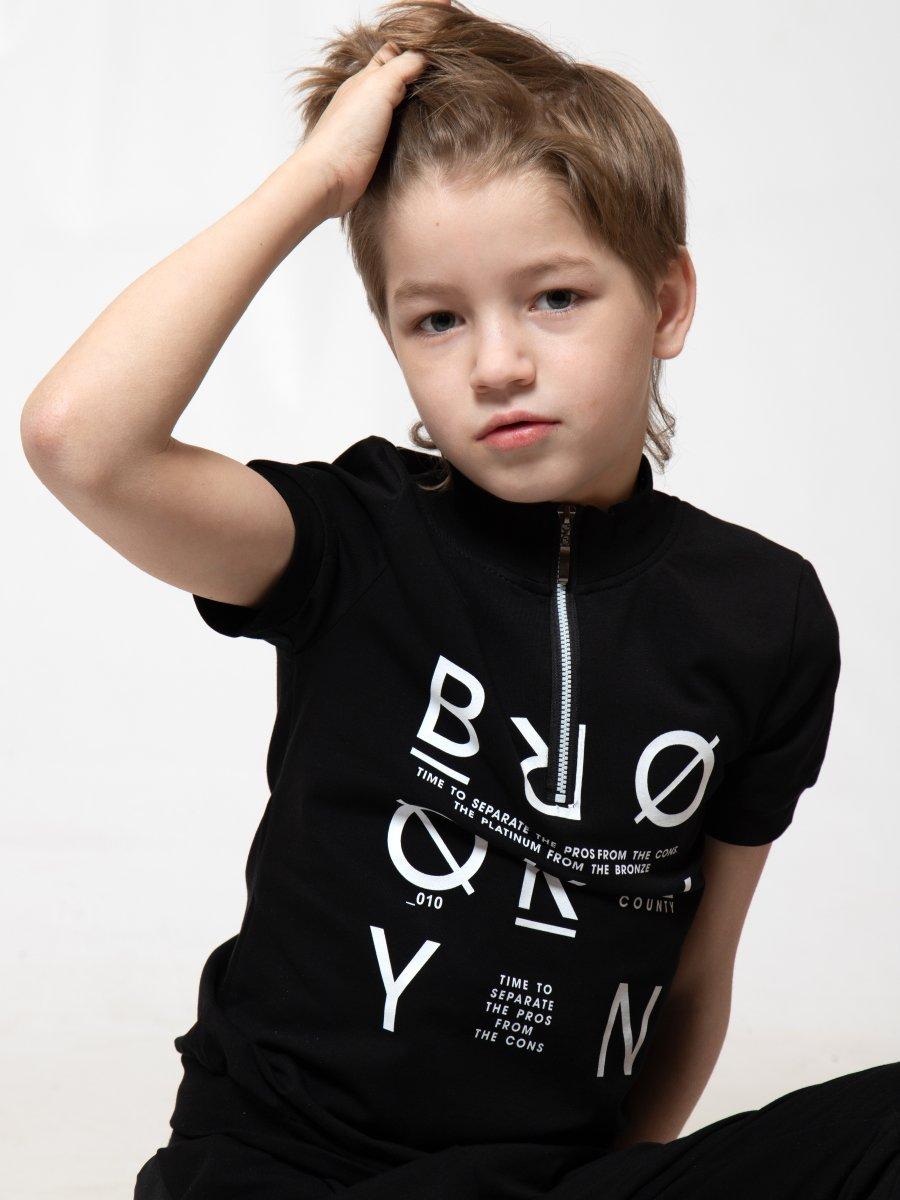 Футболка для мальчика из кулирки с лайкрой, цвет: черный