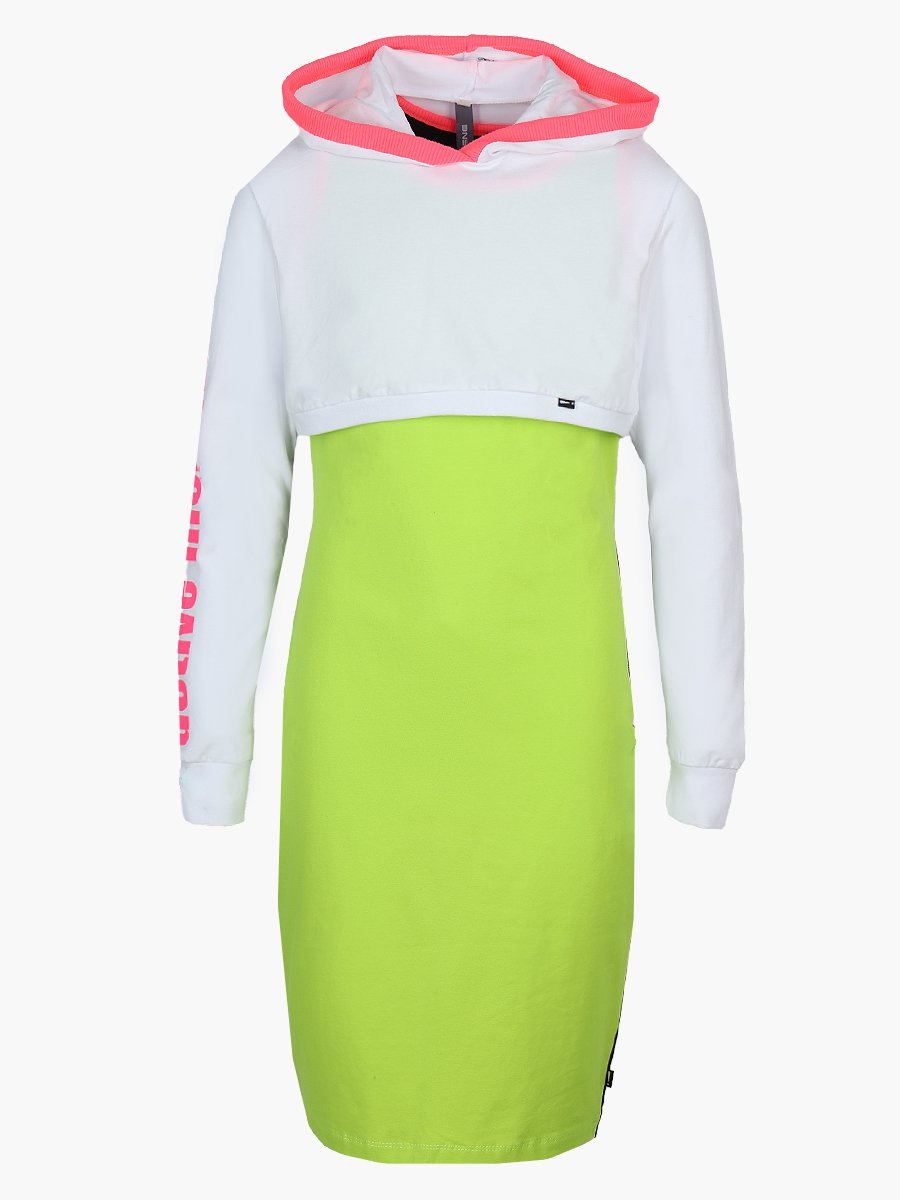 Комплект: свитшот укороченный и платье прилегающего силуэта, цвет: белый