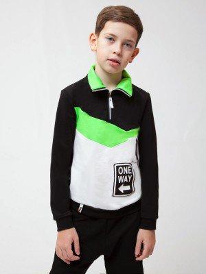 Толстовка с воротником-стойка для мальчика