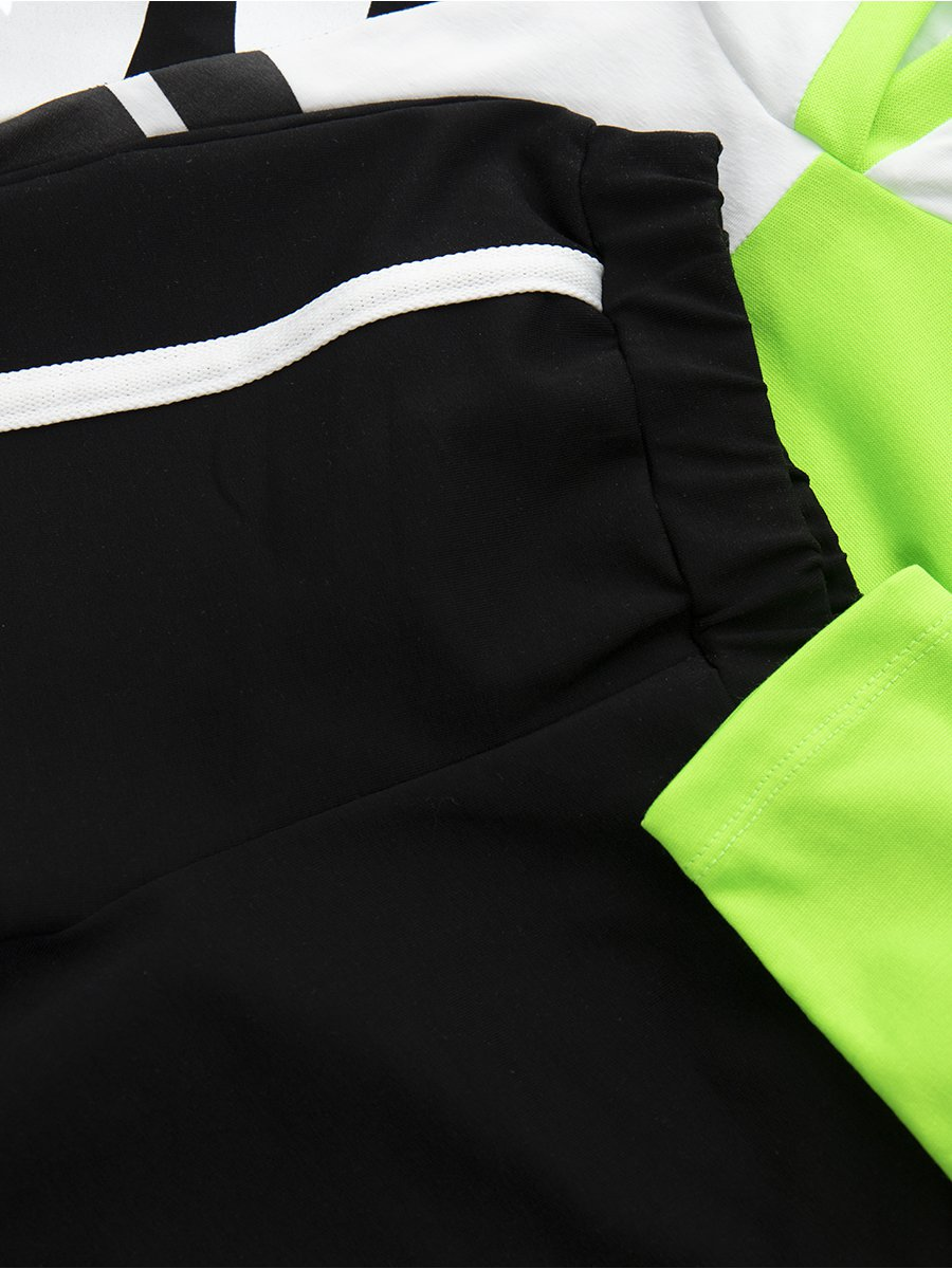 Костюм спортивный: свитшот укороченный и брюки зауженные со средней посадкой, цвет: зеленый неон