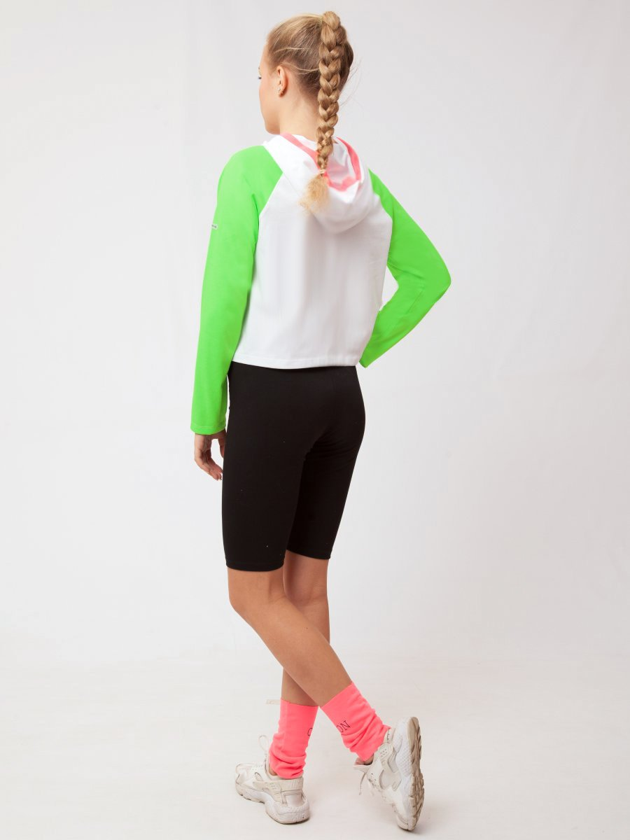 Костюм спортивный: лонгслив укороченный и бриджи облегающего силуэта, цвет: мультиколор