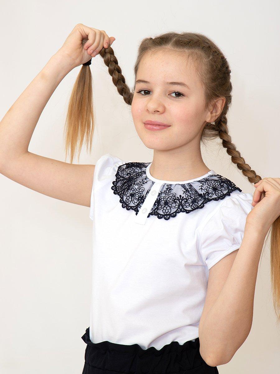 Блузка трикотажная из кулирки с лайкрой, цвет: белый