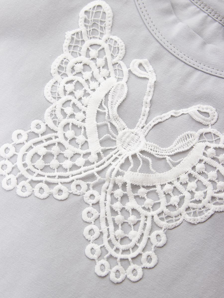 Блузка прямого силуэта, цвет: серый