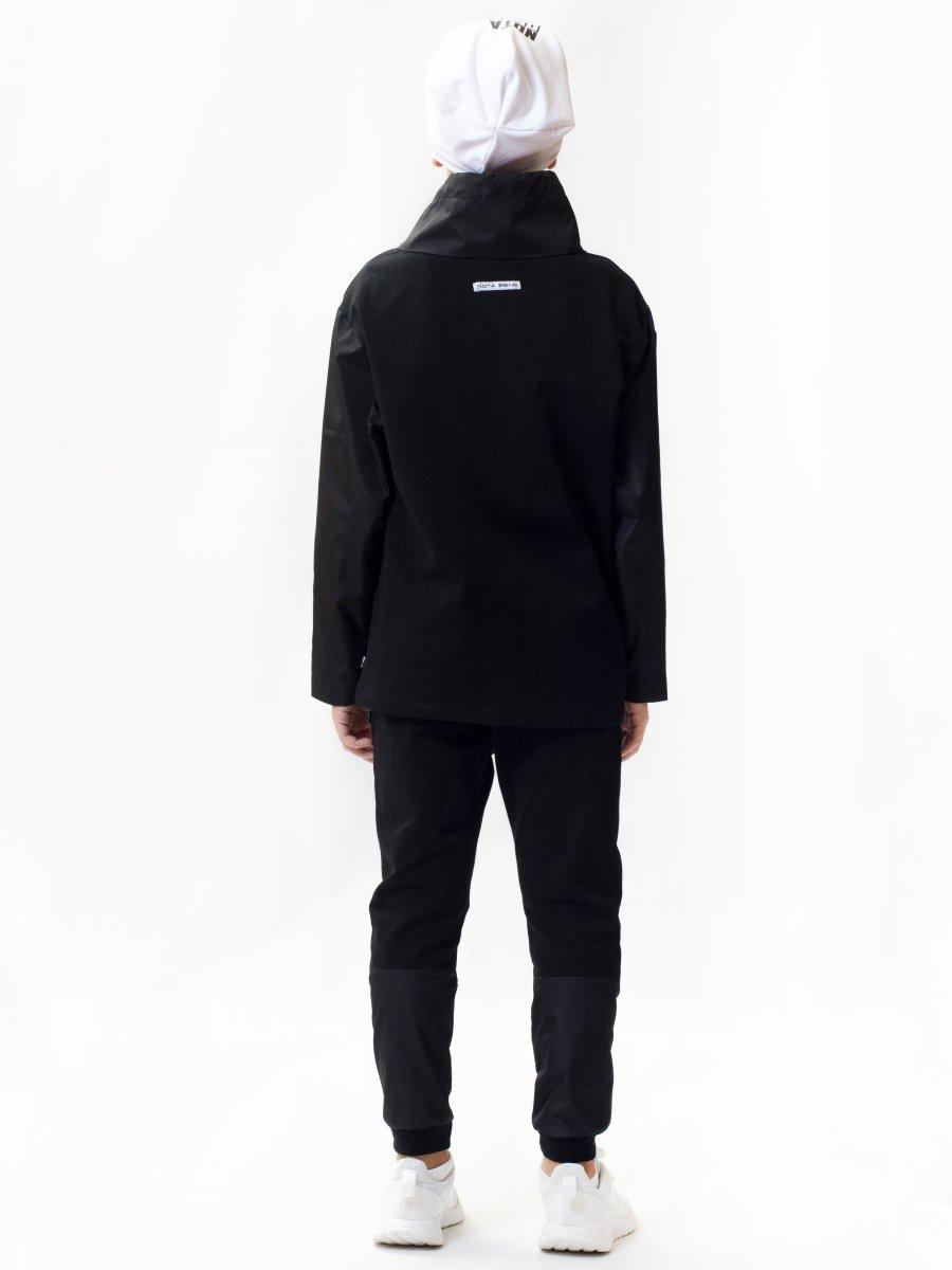 Костюм спортивный:толстовка удлиненная и брюки зауженные со средней посадкой, цвет: черный