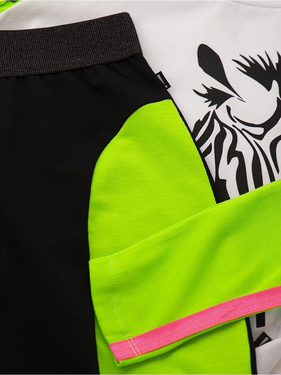 Комплект:свитшот укороченный и юбка прилегающего силуэта, цвет: зеленый неон