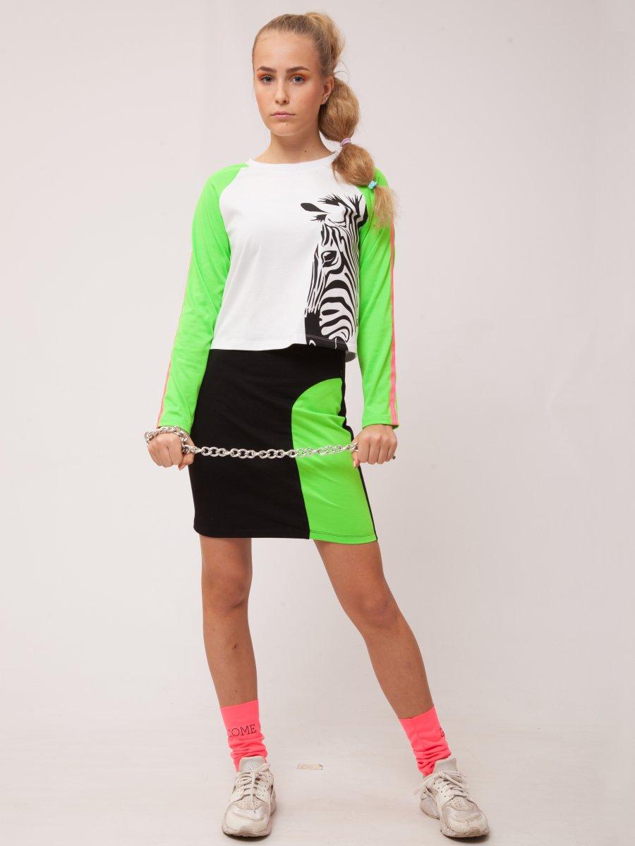 Комплект: свитшот укороченный и юбка прилегающего силуэта, цвет: зеленый неон