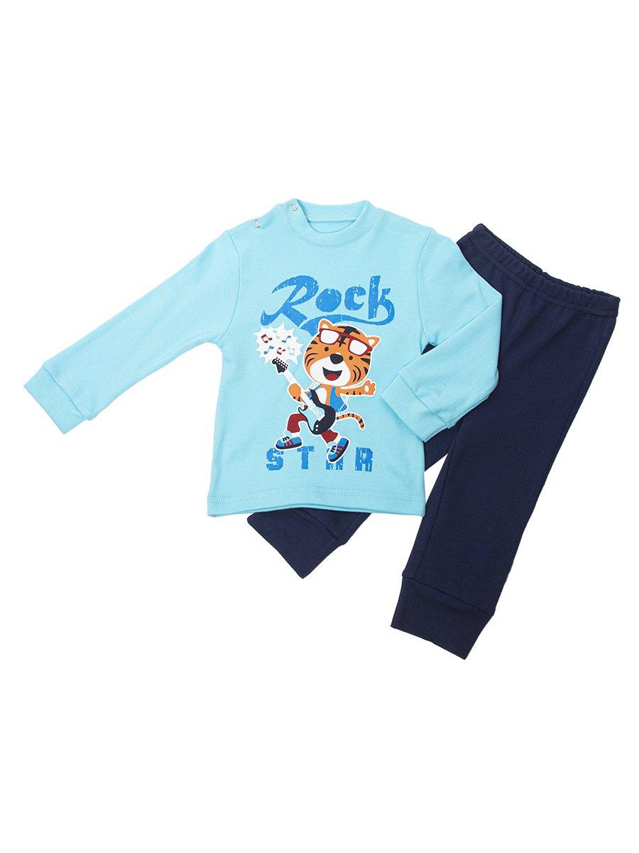 Комплект для мальчика: кофточка и штанишки, цвет: бирюзовый