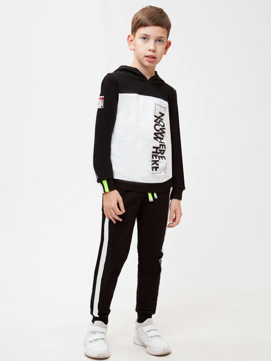 Костюм спортивный: свитшот и брюки зауженные со средней посадкой, цвет: черный