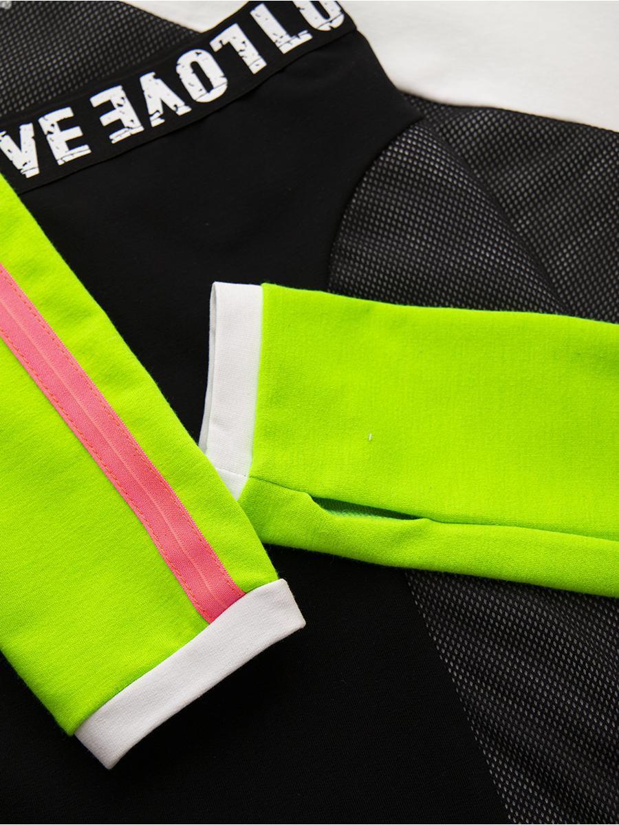 Комплект:  свитшот укороченный и юбка прилегающего силуэта, цвет: мультиколор