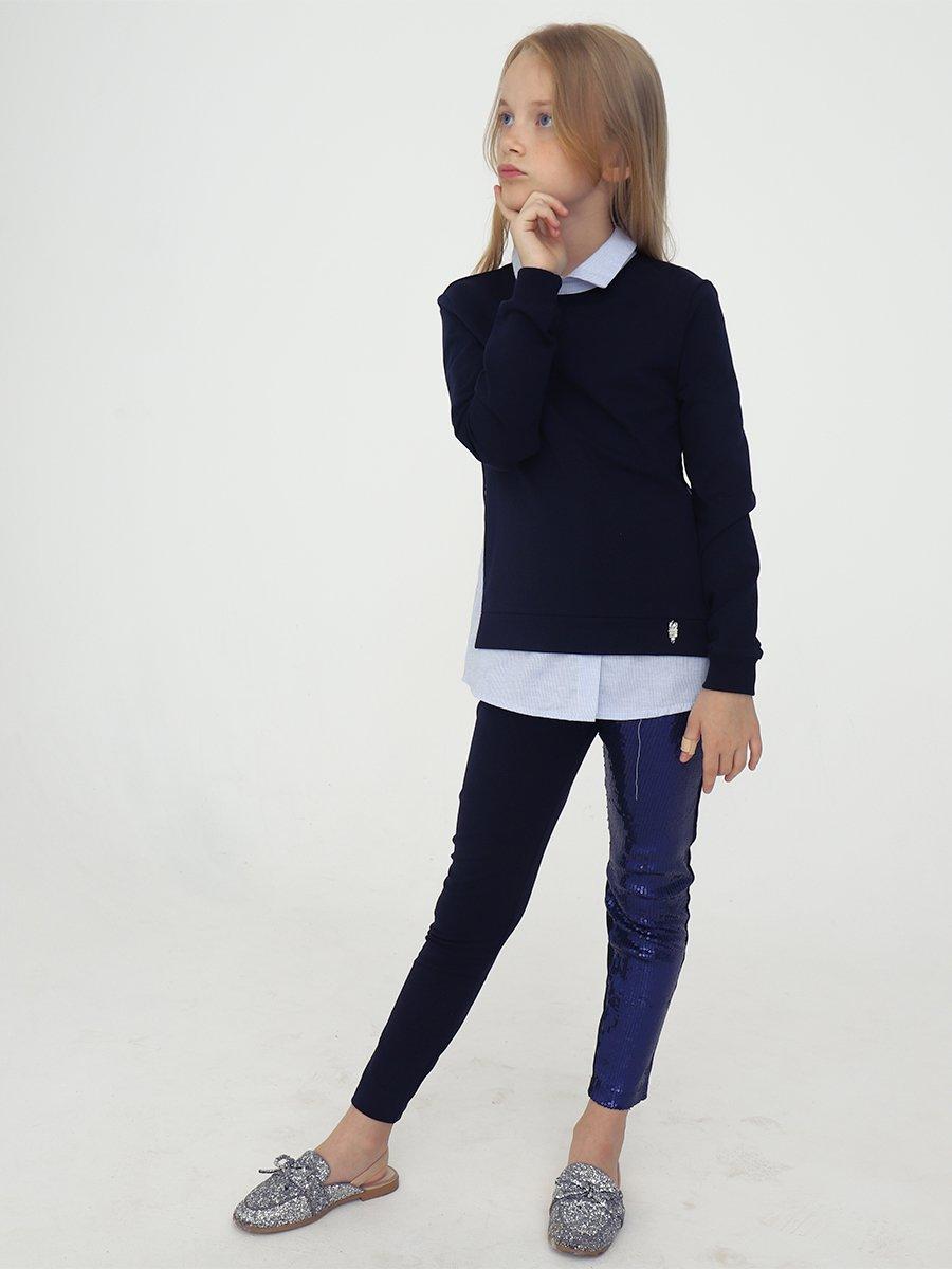Джемпер обманка для девочки, цвет: темно-синий