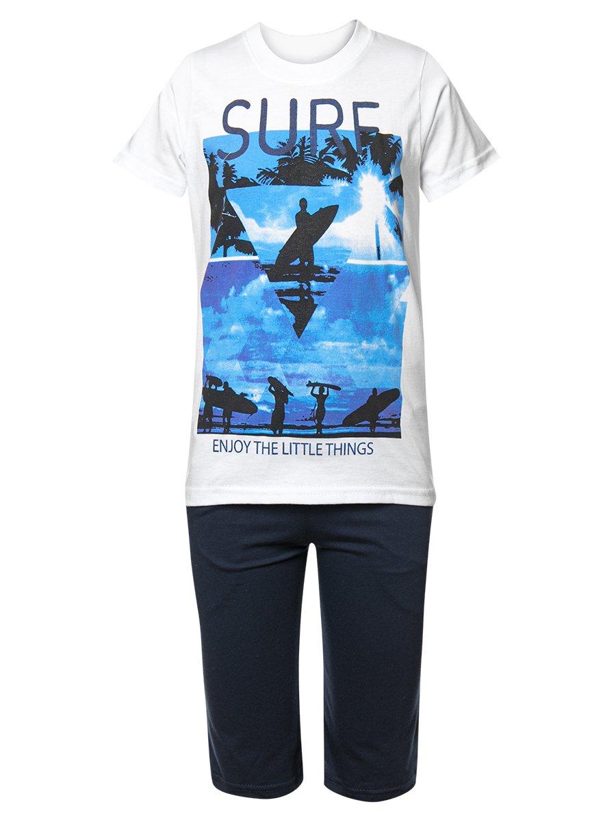 Комплект для мальчика: футболка и шорты, цвет: белый