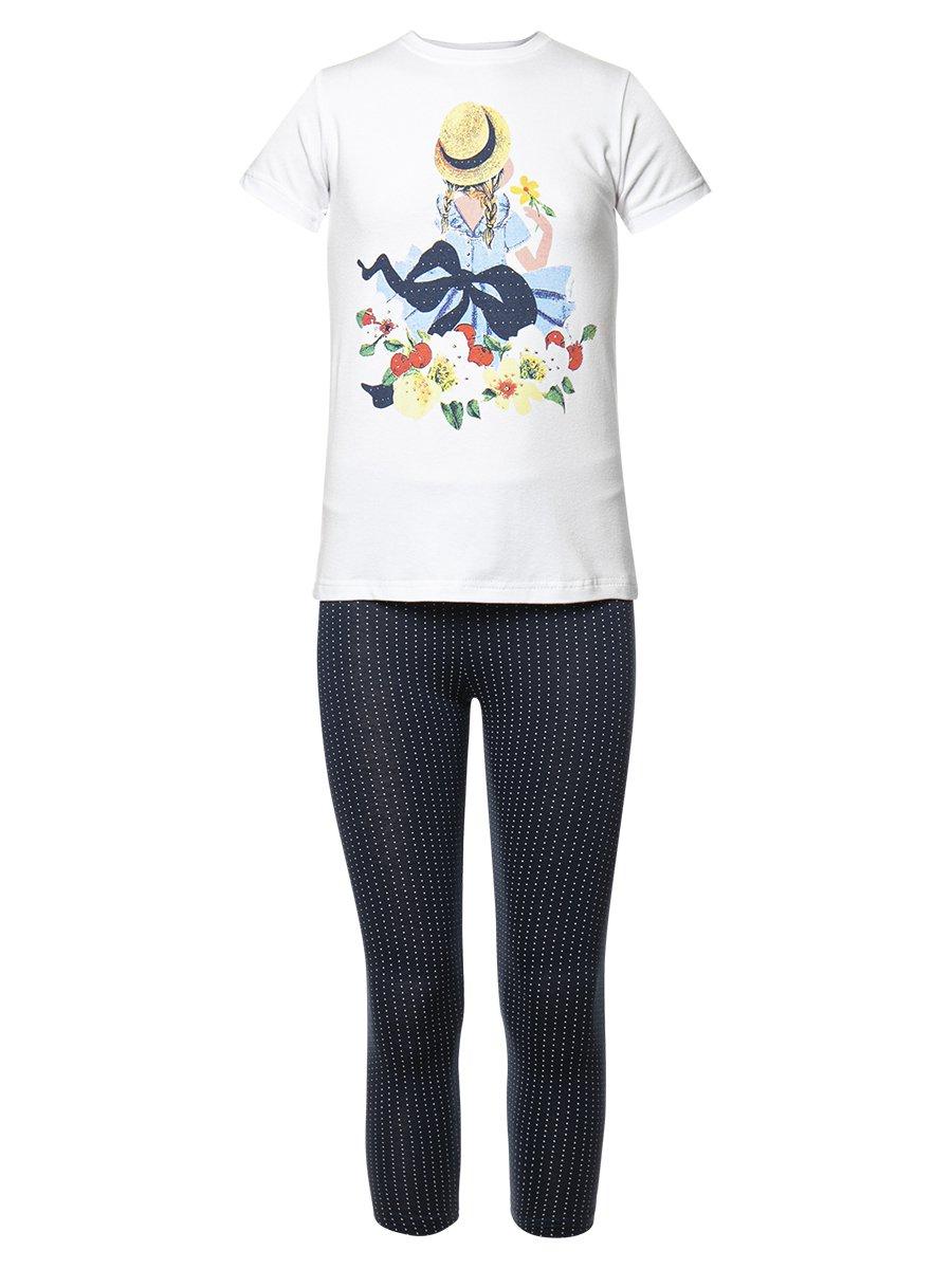 Комплект для девочки: футболка и капри, цвет: белый