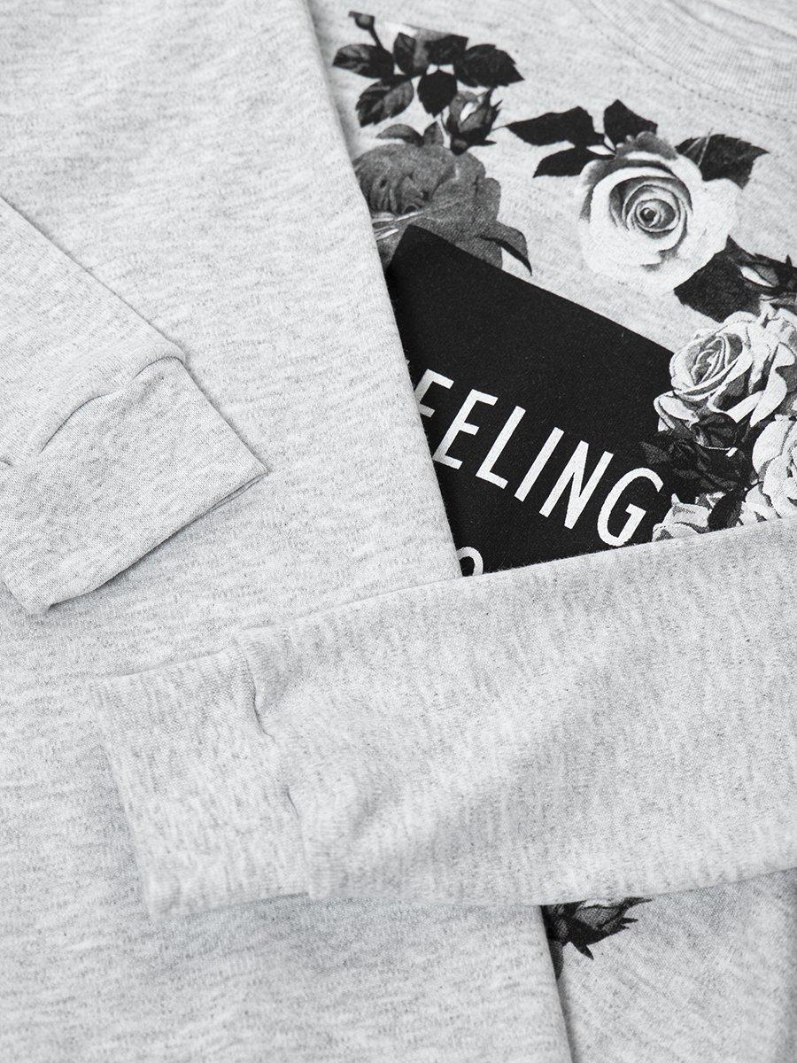 Комплект для девочки: свитшот и штанишки, цвет: серый меланж
