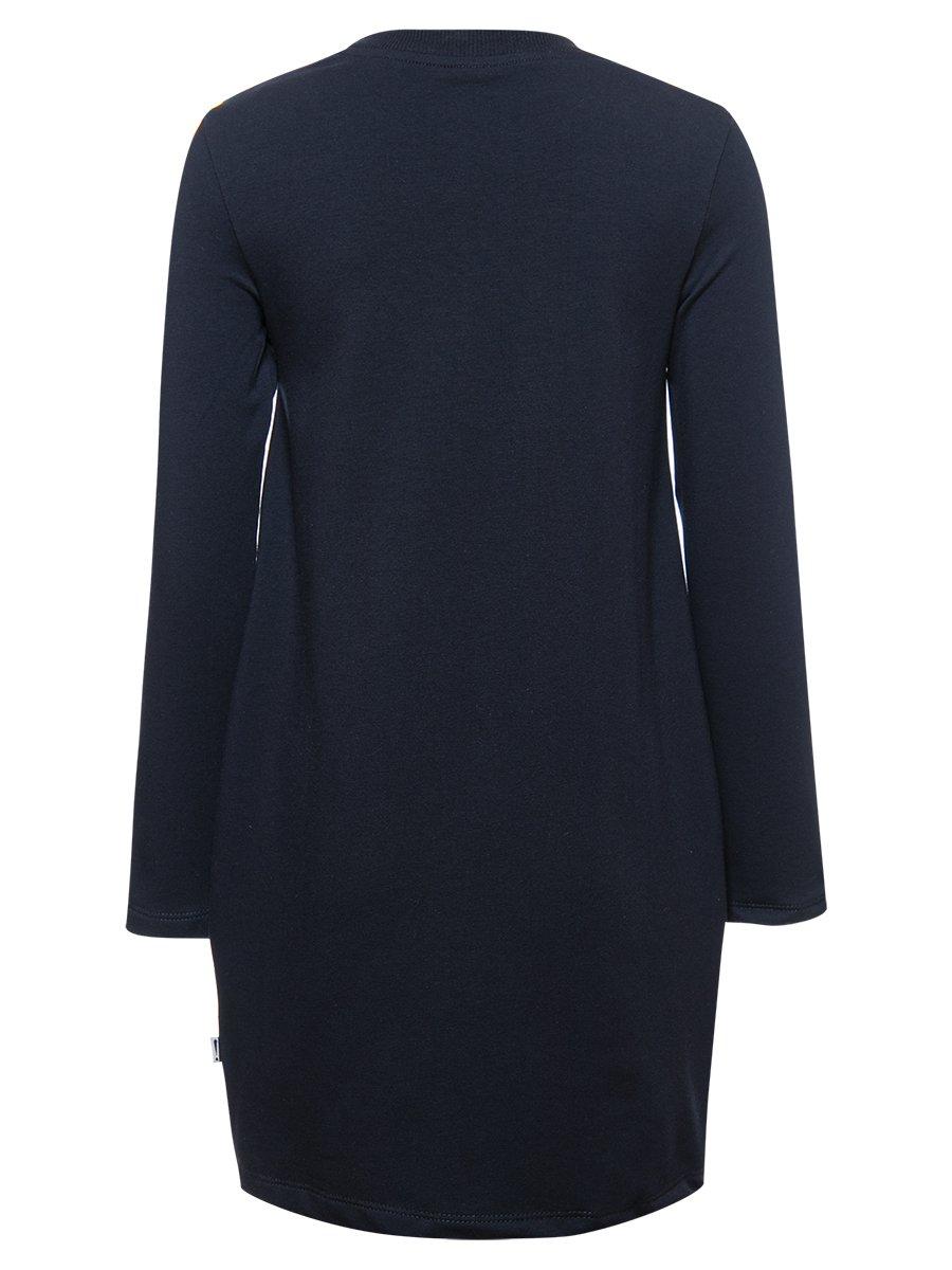 Платье трикотажное для девочки, цвет: темно-синий