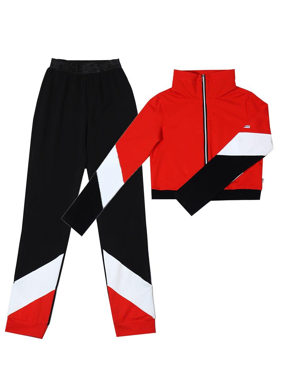 Костюм спортивный: бомбер укороченный и брюки зауженные со средней посадкой, цвет: красный
