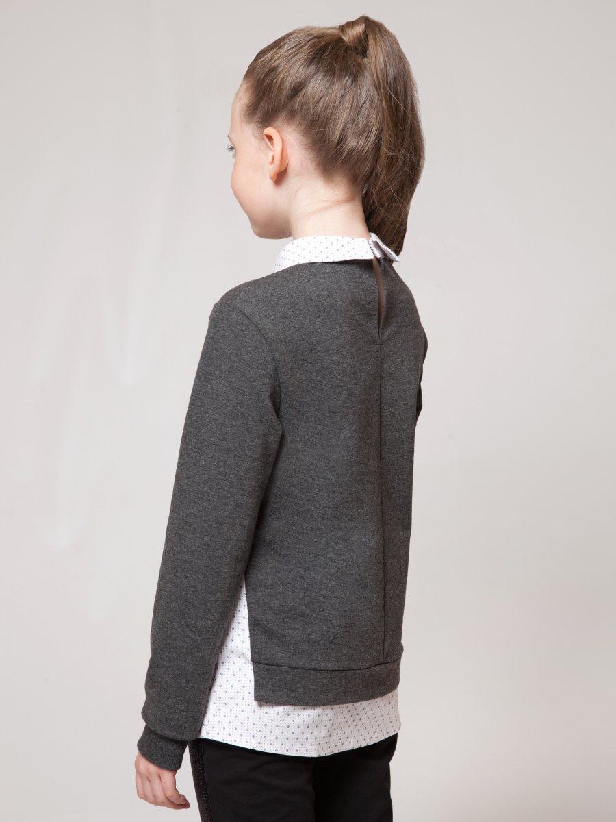 Джемпер обманка для девочки, цвет: темно-серый