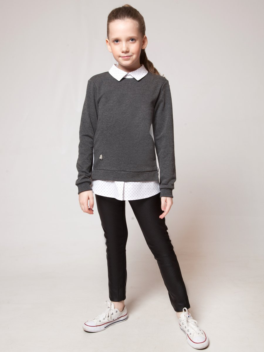 Джемпер-обманка для девочки, цвет: темно-серый