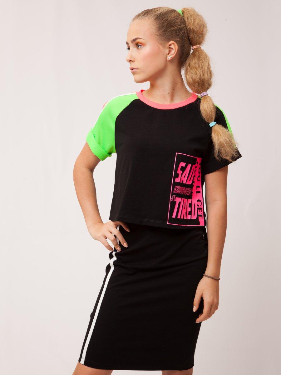 Комплект для девочки: футболка, юбка, цвет: черный