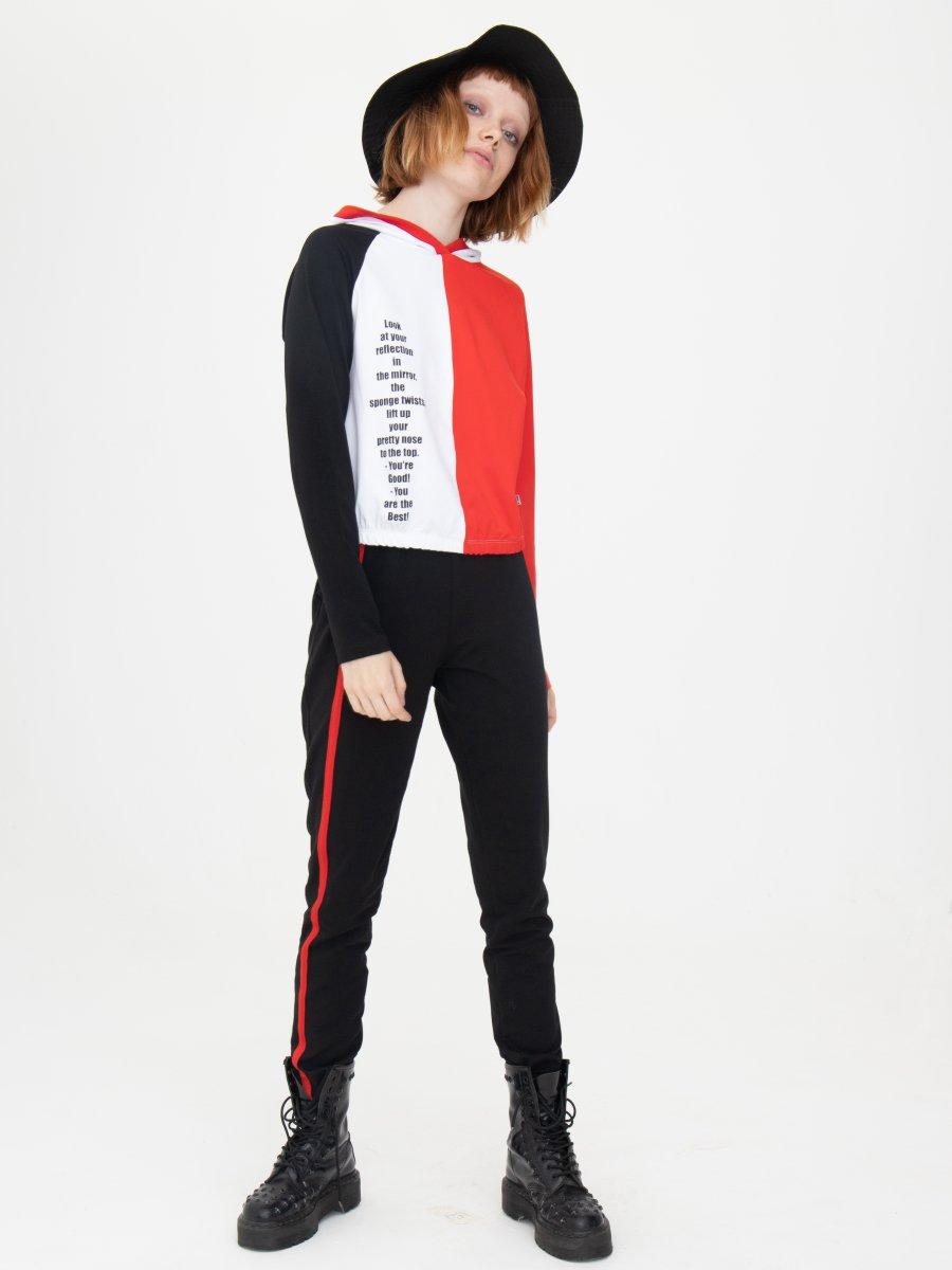 Костюм спортивный: свитшот укороченный и брюки зауженные со средней посадкой, цвет: красный