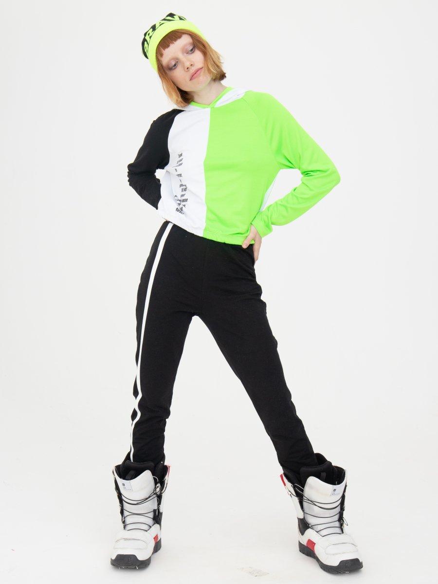 Костюм спортивный: свитшот укороченный и брюки зауженные со средней посадкой, цвет: неон зеленый