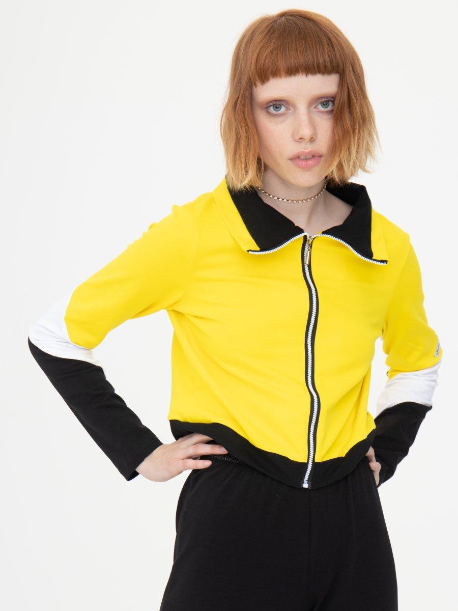 Костюм спортивный: бомбер укороченный и брюки зауженные со средней посадкой, цвет: желтый