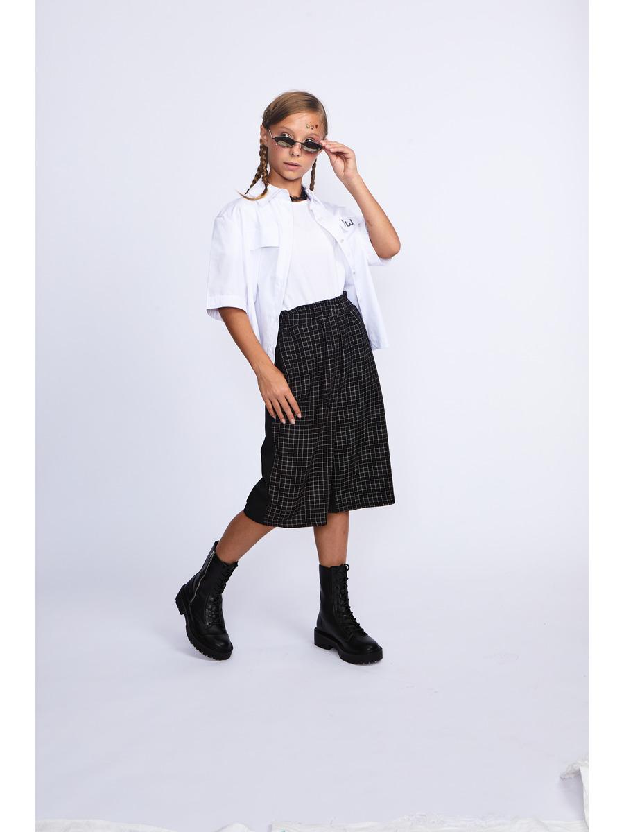Брюки кюлоты со средней посадкой для девочки, цвет: черный