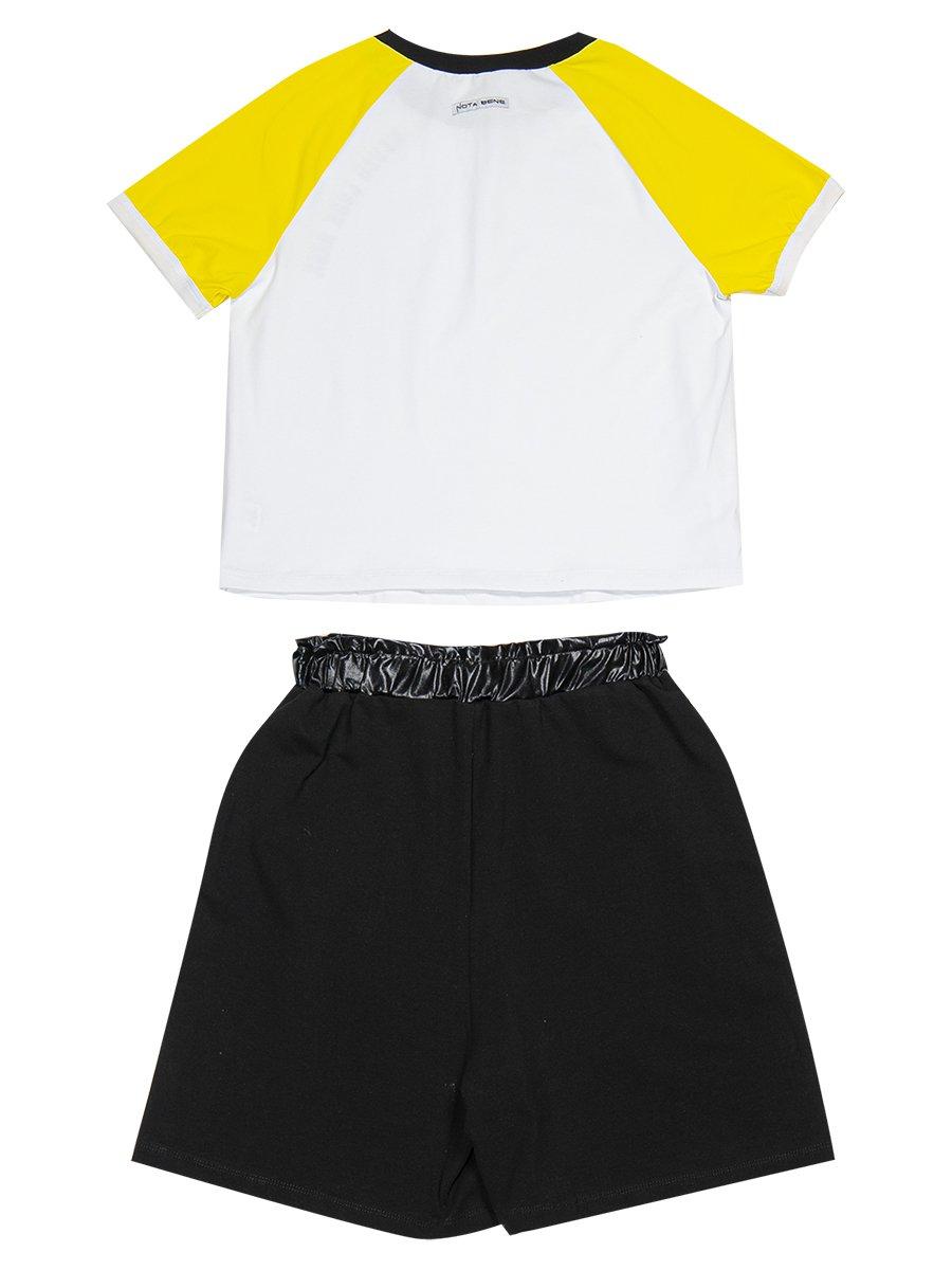 Комплект женский: футболка укороченная и шорты с завышенной посадкой, цвет: желтый