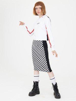 Комплект женский: свитшот укороченный и юбка прилегающего силуэта