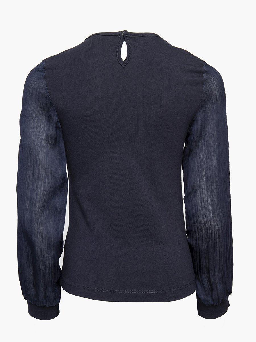 Блузка прямого силуэта, цвет: темно-синий