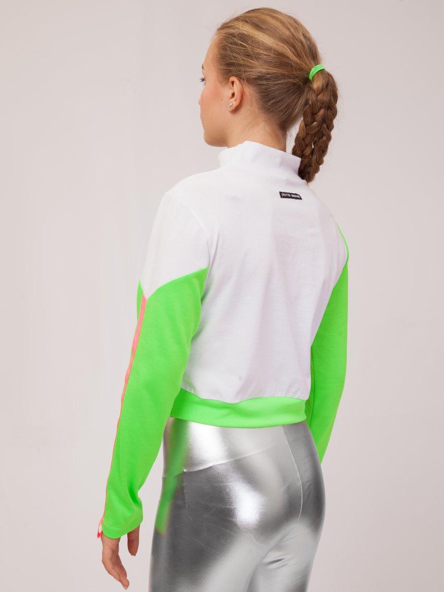 Лонгслив для девочки, цвет: зеленый неон