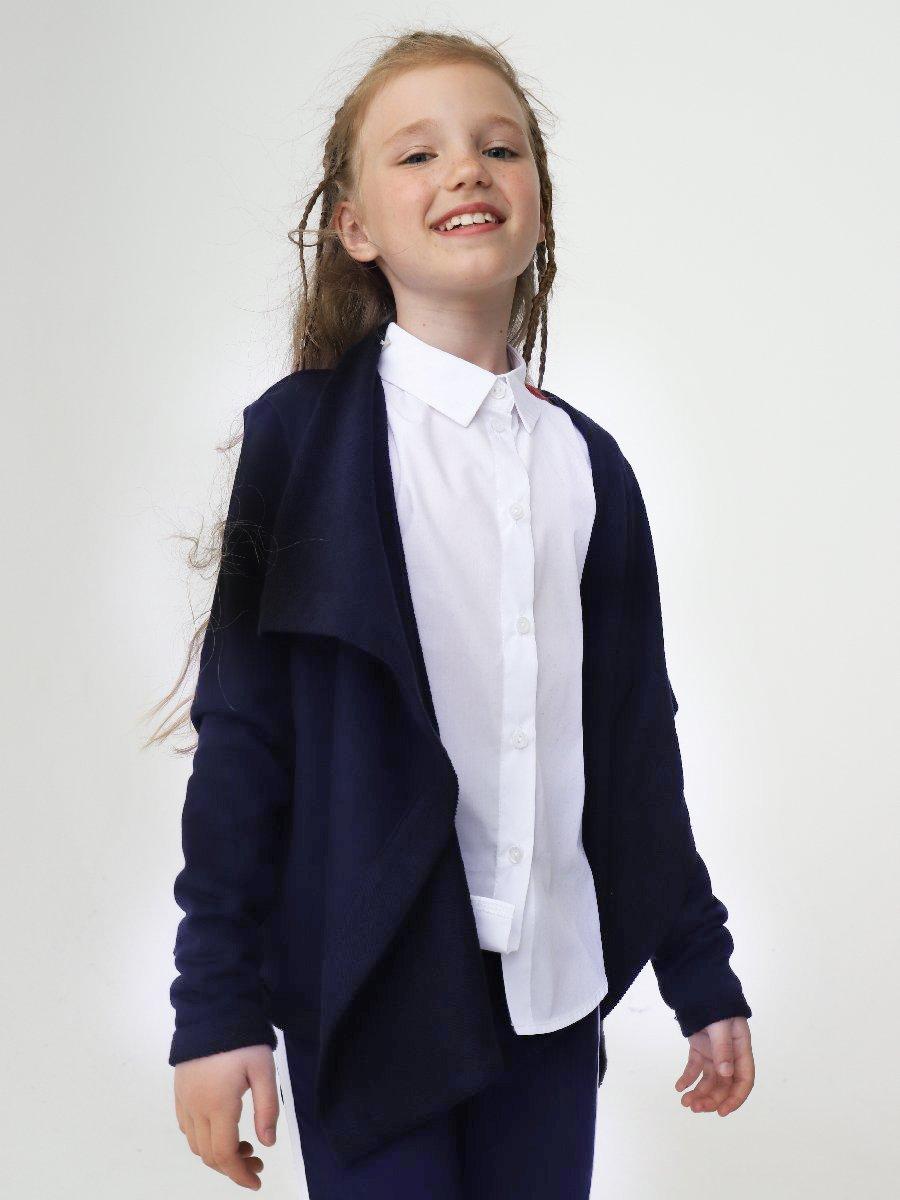 Кардиган прямого силуэта для девочки, цвет: темно-синий