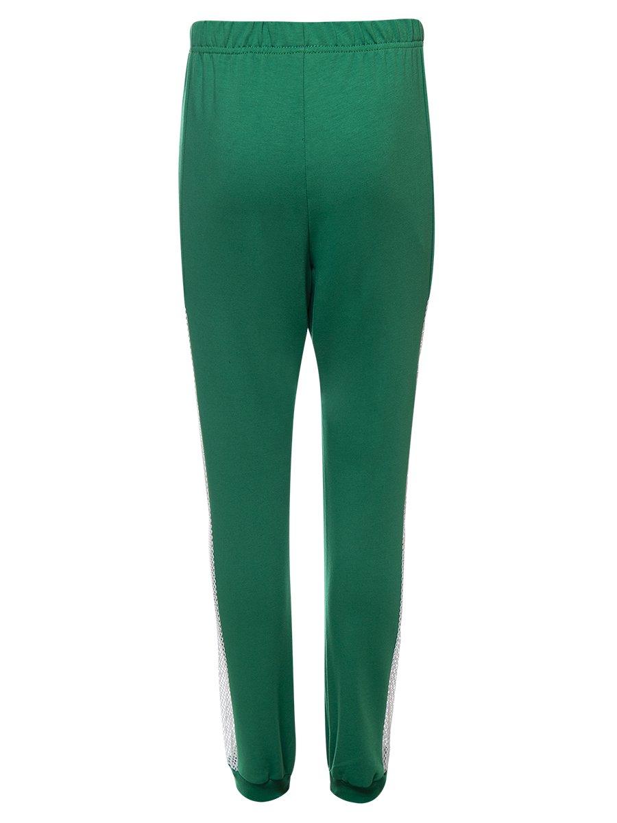 Брюки спортивные зауженные по низу на манжете для девочки, цвет: зеленый