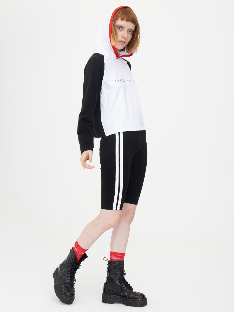 Комплект женский:лонгслив укороченный и бриджи со средней посадкой, цвет: черный