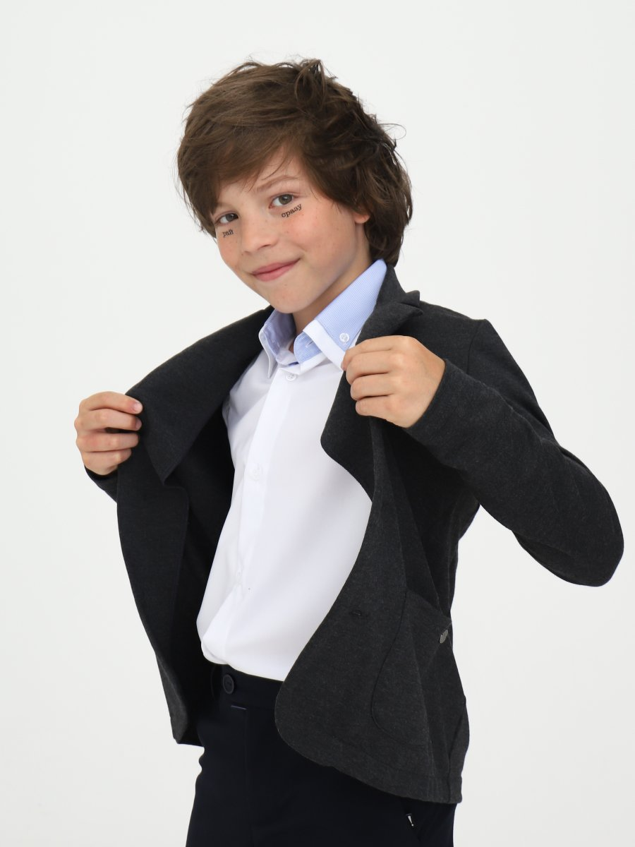 Пиджак для мальчика, цвет: темно-серый