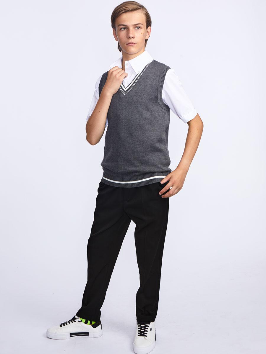 Жилет вязаный для мальчика, цвет: темно-серый