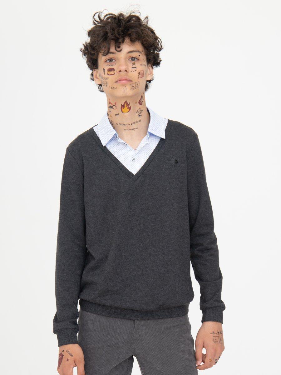 Джемпер обманка для мальчика, цвет: темно-серый