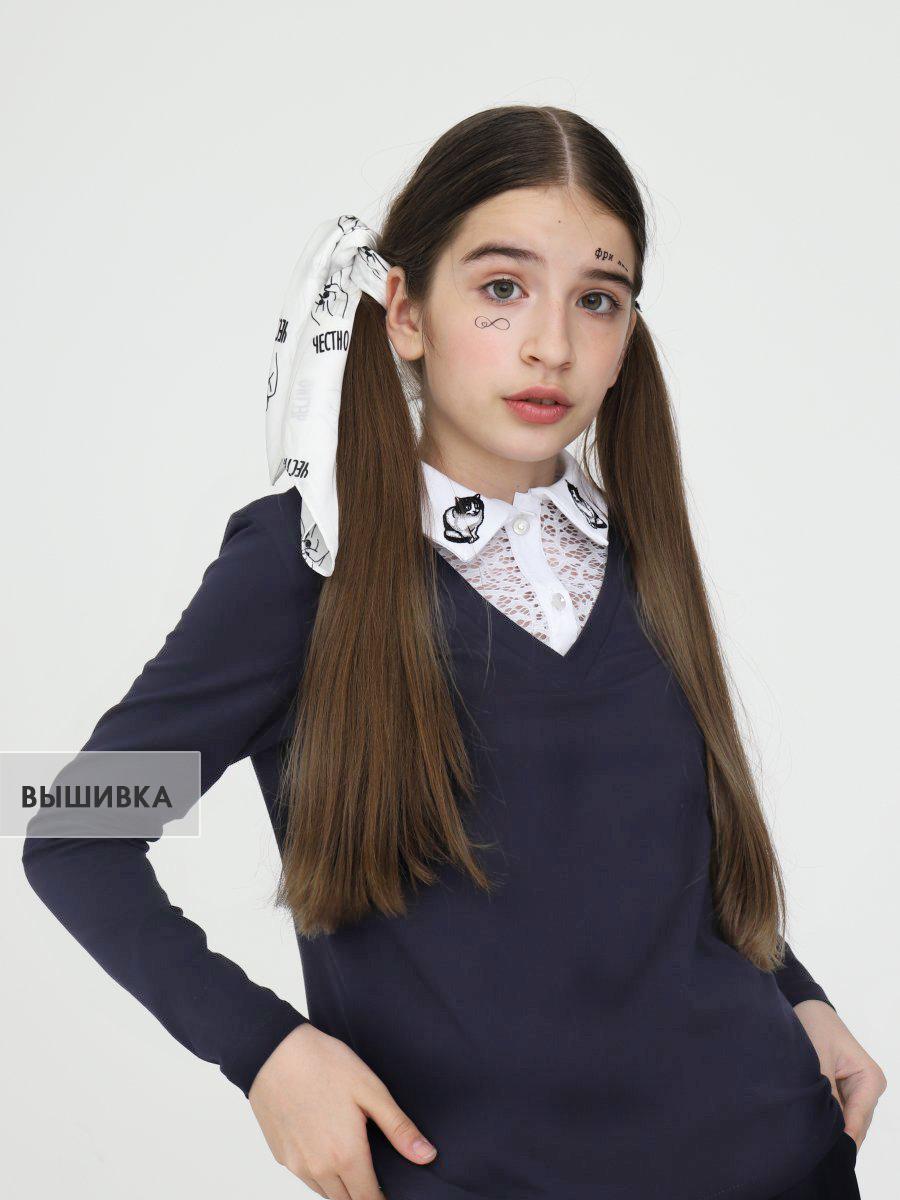Джемпер-обманка трикотажная для девочки, цвет: темно-синий