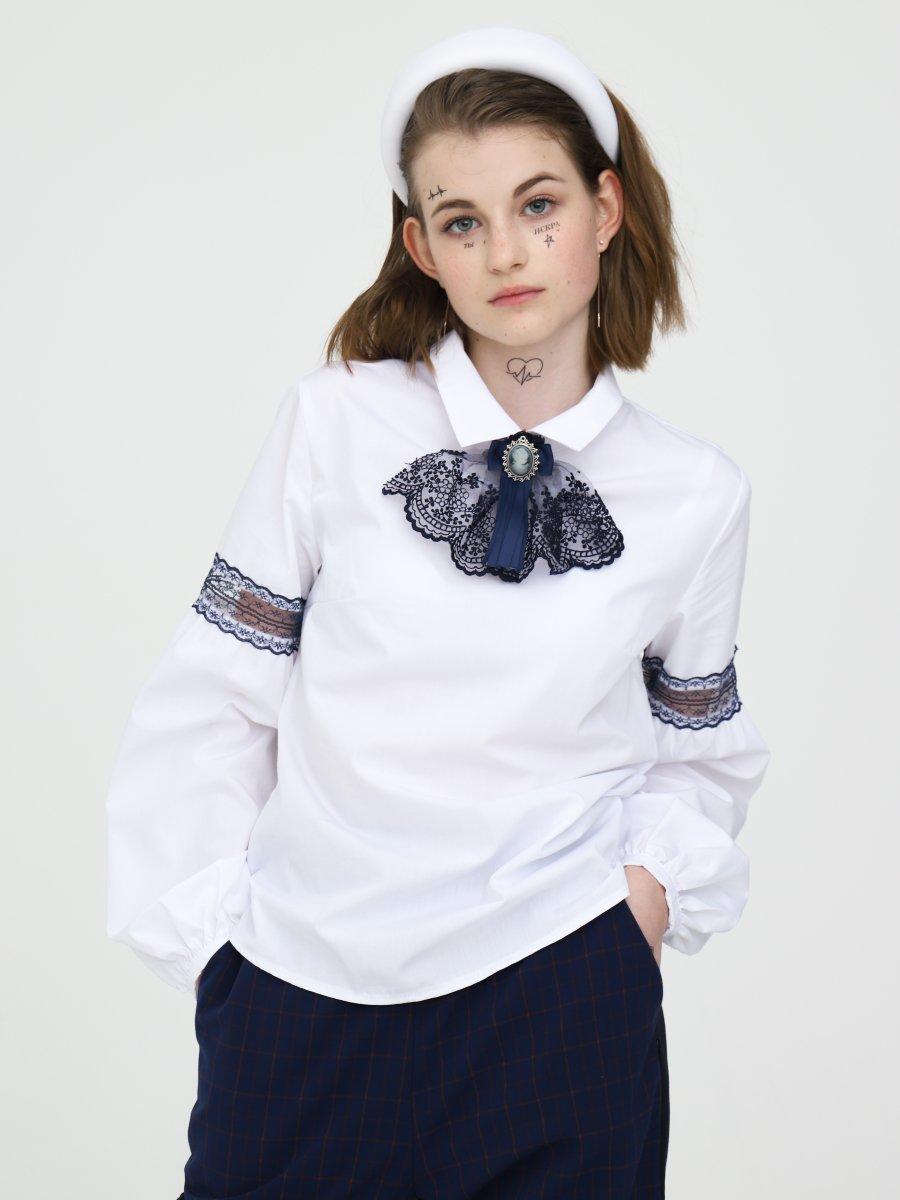 Блузка полуприлегающего силуэта, цвет: белый