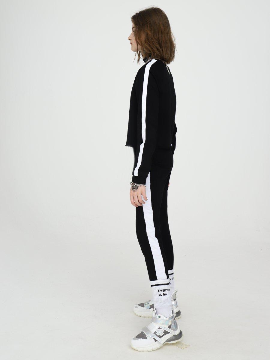 Костюм спортивный: свитшот укороченный и лосины, цвет: черный
