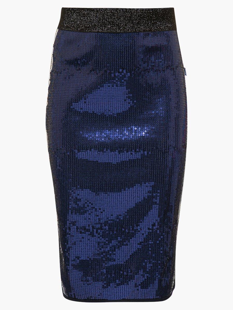 Юбка прямого силуэта с лампасами, цвет: темно-синий